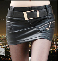 Fashion Autumn and Winter 2014 New In Sexy Zipper Embellished Skirts Slim Hip Female PU Mini Skirts With Belt