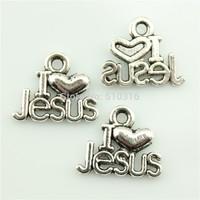 50pcs 15*13mm I heart jesus charms antique silver tone I Love jesus pendant