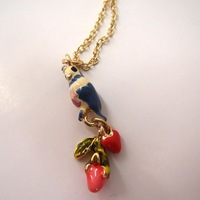 fashion necklaces 2014 hot selling Colored glaze enamel parrot bird flower necklace Upscale atmosphere girls love best