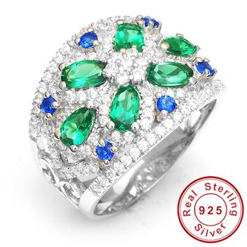 2014 Марка Горячая 3ct Luxury Nano России Сапфир Изумрудное кольцо для женщин Pure 925 Solid Silver ювелирной моды