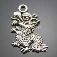 50pcs 18*12mm dragon charms antique silver tone pendant