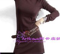 The aqua, handmade leather fashion leather belt G02400