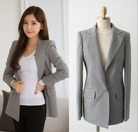 blazer feminino Women Blazer Houndstooth Plaid Slim Waist Long Sleeve Jacket Cardigans Plus Size S,M,L,XL,2XL C48523