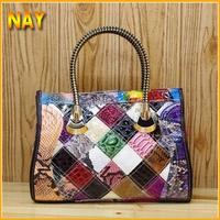 New Women's Genuine Leather Tote Bag Snake Pattern Printing Handbags Satchel Bag Shoulder Handbag K498