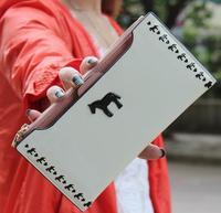 White and horse wallet fashion purse lady burse girl notecase billfold handbag I30047-01