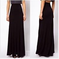 Hot 2014 New Fashion Brand Spring Autumn Large Plus Size High Waist Maxi Cotton Full Length Stretchy Skirt Long Maxi Women Skirt