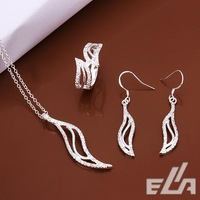 New jewelry promotions 925 silver plated jewelry set, leaf necklace Earrings Ring Sets as a part gift.