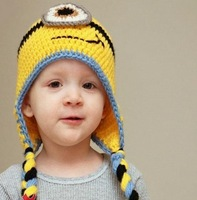 Cute Minions Baby Boy & Girl Winter Cap Children Crochet Beanies Hat Cartoon Photography Props Kids Knitting Bomber Hat