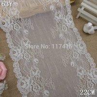 22 cm off white  high quality elastic lace nylon + spandex   30 yards / lot