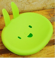 2014 best selling cartoon smiling rabbit soap box, soap dish storage