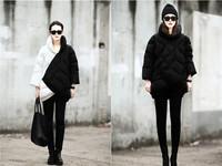 Free Shipping  Winter New European Grand Prix star Coat Black  White Mixed Colors Warm Down Jacket  Winter Dress Parka A120