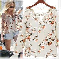 2014 Women Printed Chiffon Shirt Long Sleeve High Quality Cool Comfortable Soft Material Casual Shirt Women Blouse Free Shipping