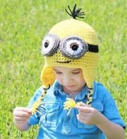 2014 New Children Winter Beanies Cap Cartoon Cute Minions Crochet Hat Baby Girl & Boy Knitting Skullies Photography Props