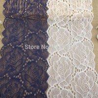 16 cm white and amazing purple exquisite rose jacquard elastic lace trimming fabric  nylon + spandex