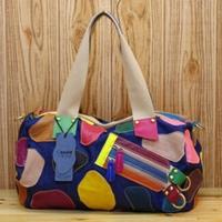 Designer Brand New Hot Fashion Women Handbag Female Bags Vintage Black Colorful Shoulder Bag Genuine Leather + Jean K559