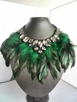 Free Shipping (1pcs/lot) 2015 New Fashion New Style Brown Feather Necklace Collar Choker Necklace For Women