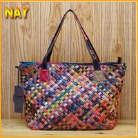 New 2014 Fashion Designer Brand Genuine Leather Handbags Women Bags Woven Knitting Totes Purse Hobo Satchel K9028