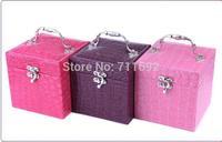 handmade Elegent Luxury PU Leather Crocodile 3 Layers Grain Jewelry Box Fashion Jewellery Storage Box Packaging Case Organizer