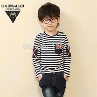 Free Shipping Children Clothing 2014 Spring Autumn New Baby Boy Kid Cotton Shirt Korean Stripes Long-Sleeved T shirt