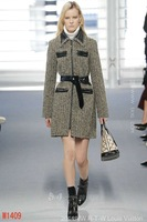 Milan Fashion Week Early Autumn High-end Temperament V-Neck With Belt Long Winter Coats For Women 2014