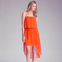 Richcoco tiebelt low-high dovetail medium-long chiffon strapless spaghetti strap one-piece dress d495