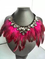 Free Shipping (1pcs/lot) Gothic Feather Exaggeration Luxury Women Fashion Brand Accessories Crystal Statement Necklace Collar