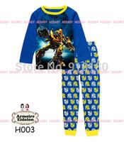 Retail Baby boys girls Cartoon transformers pajamas Children Cotton Long Sleeve Pyjamas Set Baby Children sleepwear suits