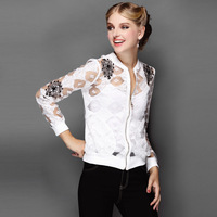 brand high quality 2014 autumn women's fashion luxury silk embroidery thin long-sleeve short jacket casual Outerwear & Coats
