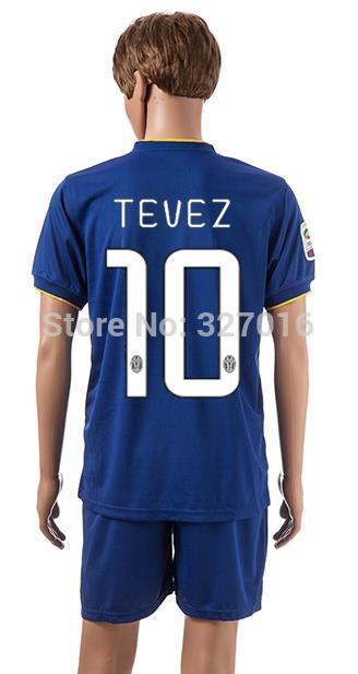 Free shipping-2014/15 Season #10 Tevez Away jersey&short,Soccer team uniforms(China (Mainland))