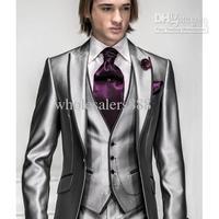 2014 - New Arrival Slim Fit Silver Grey Satin Groom Tuxedos Best Man Peak Lapel Groomsmen Men Wedding Suits Bridegroom (Jacket+P