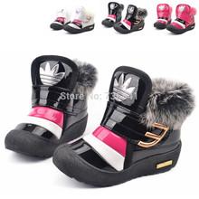 livraison gratuite 2014 promos d'hiver lumineux de fourrure fille jeune bottes de neige glissement bouche enfants bottes bottes de coton(China (Mainland))