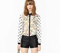 2014 spring summer women blouse casual blusas femininas wave sleeve splicing tops printed shirt  2326