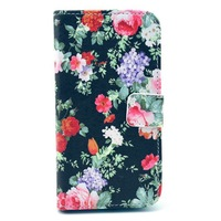 Black Red Floral Flower Magnetic Flip PU Leather Wallet Card Stand Case Cover for Samsung Galaxy S3 SIII i9300