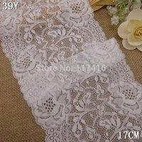 17 cm white elastic lace trim spandex +nylon
