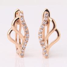 joyas únicas 18k oro cristales suizo circón herradura joyería de moda pendientes de aro e163a envío gratis(China (Mainland))