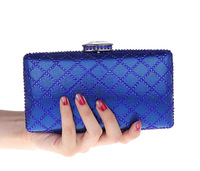 Luxury diamond evening bags , plaid pattern women clutches wedding dating bags chains shoulder bags red blue black silver gold