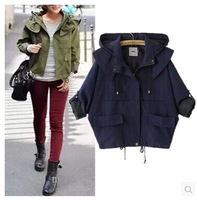 Fashion autumn women 2014 all-match hooded drawstring lacing loose long-sleeve short design trench outerwear female coat jacket