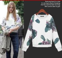 2014 Autumn High Street Brief Print Flora Women Hoodie Pullovers Trend All-match England Style Crop Sports Tracksuit Sweatshit