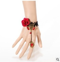 Free Shipping Gothic Sex Lolita Rose Flower Alloy Chain Lace Bracelet & Bangle Z4T12 (Hot selling )