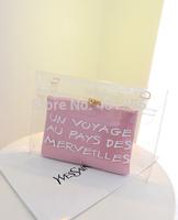 Free shipping 2014 new Brand Designer fashion women's handbag plastic crystal transparent bag jelly bag beach bag big bag