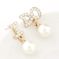 Min Order 10USD Fashion Elegant Crystal Women Stud Pearl Earrings