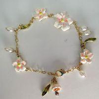 fashion bracelet for women 2014 hot selling Copper chain drip pink lilies flower pearl bracelet