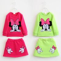 2014 new spring  autumn mouse girls clothing sets  child long-sleeve sweatshirt basic shirt short skirt set baby girls dress