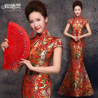 2014Chinese Traditional Fairy Red Bridal Fish Tail Wedding Dress Cheongsam Dragon Long Design Bridal Wear Qipao Vestido de Noiva