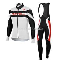 New 2014 Winter Fleece cycling jersey/ cycling clothing men women Long Sleeve+Bib Trousers Bike Clothes full zipper -BF0830