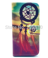 Fashion Dream Catcher Campanula Design Magnetic Flip PU Leather Wallet Card Stand TPU Case Cover For Iphone 5 5G 5S