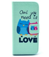 Fashion Blue Little Cartoon Owls Love Flip Magnetic PU Leather Wallet Card Stand TPU Case Cover For Apple Iphone 5C