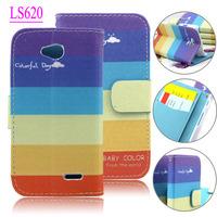 Beautiful Rainbow Stand flip Leather case for LG lg l70 d320 d325 ls620 l65+diamond dust plug+usb wallet case for lg ls620
