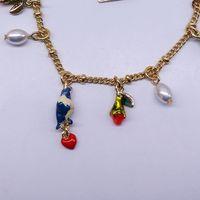 fashion bracelet for women 2014 hot selling Drip enamel birds Pearl bracelet with the roses