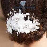 Handmade rhinestone lace white flower wedding bridal hairpin hair accessory flower accessories